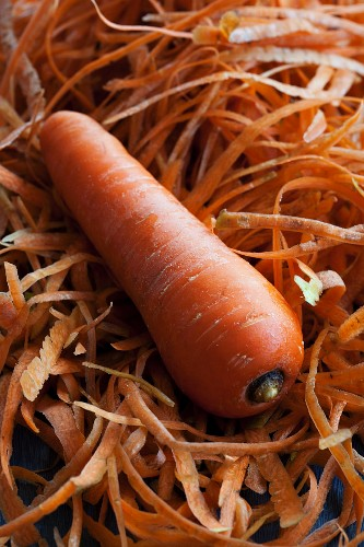 A carrot on carrot peelings