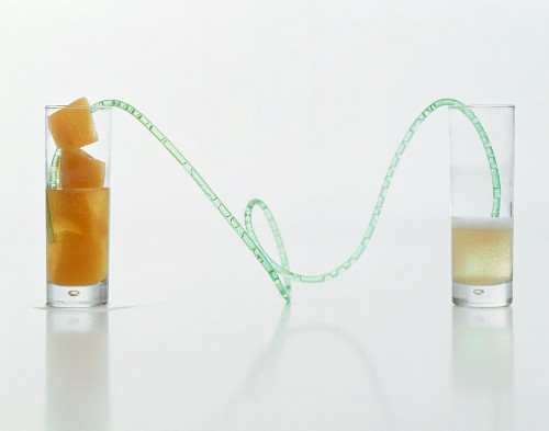 A long drinking straw connecting a glass of sparkling wine to a glass of fruit-juice ice cubes