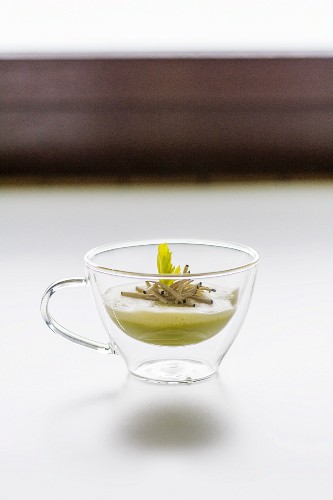 Celery soup with truffle garnish
