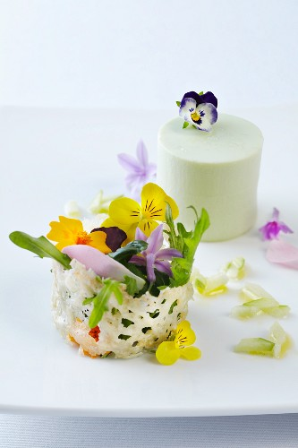 Wasabi panna cotta with apple vinaigrette and a parmesan basket