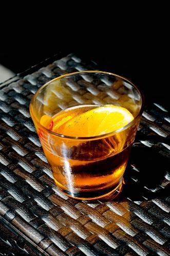 Crodino (Italian aperitif) with a slice of orange