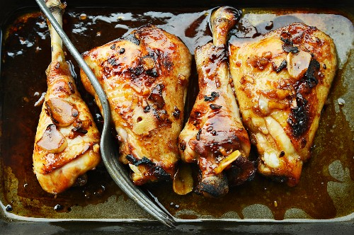 Marinated chicken legs with garlic