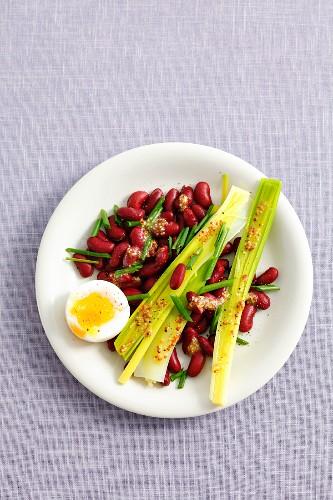 Kidney bean salad with leek, soft-boiled egg and mustard vinaigrette