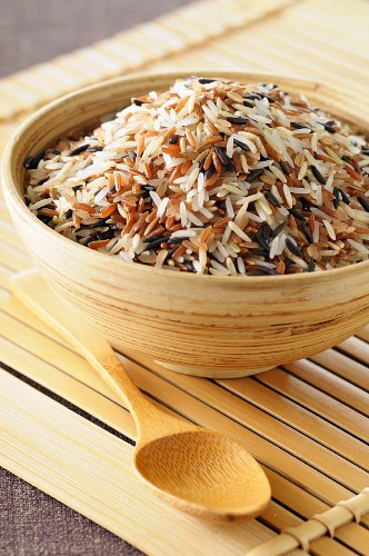 Mixed rice in a wooden bowl