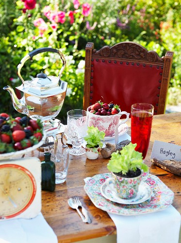 Table in garden set with berries, lettuce seedlings and teapot