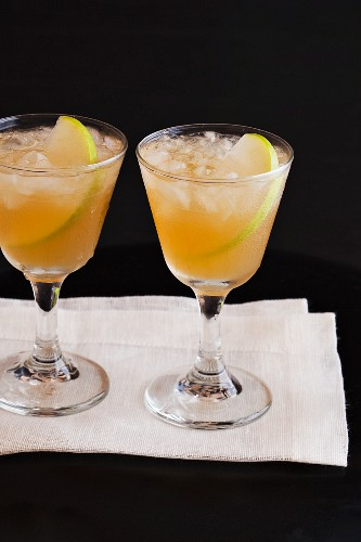 Two Drinks with Sliced Apple
