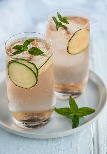 Rock Shandy cocktail with Angostura bitters, cucumber and mint
