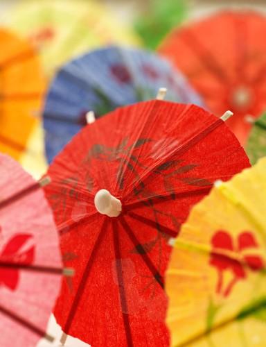 Several colourful cocktail umbrellas (close-up)
