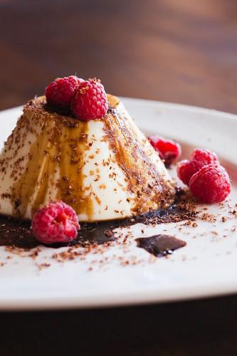 Tiramisu Flan with Raspberries and Chocolate