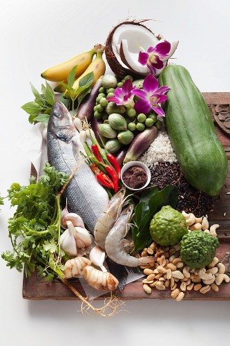 Vegetables, fish, spices, herbs and fruit from Thailand
