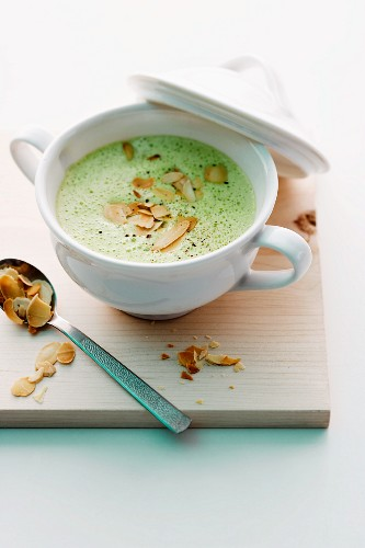Cream of broccoli soup with flaked almonds