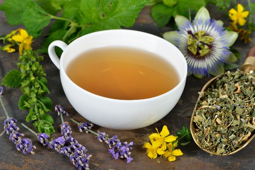Herbal tea with ingredients (lemon balm, passion flower, St. John's wort, hops, lavender and orange flowers)