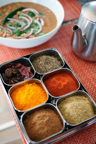 Variety of spices in an Indian spice box