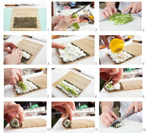 Making hosomaki with cucumber