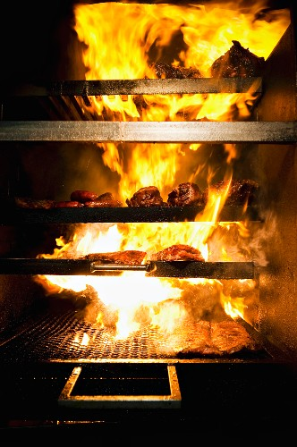 Barbeque Grill and Flames