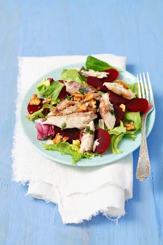 Rote-Bete-Salat mit Räuchermakrele und Walnüssen
