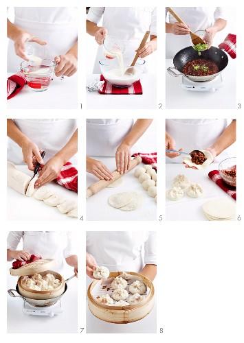 Char Siu Bao (steamed pork dumplings, China) being prepared