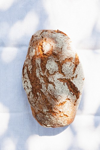 A rustic loaf of bread on a sunny table