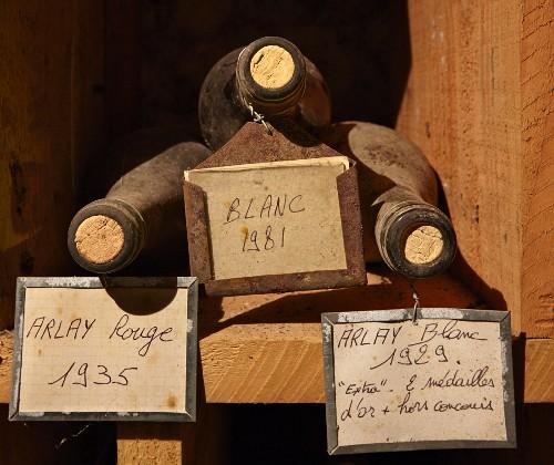 Alte Flaschen im Keller von Caves Jean Bourdy, Arlay, Jura, Frankreich
