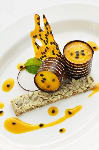 Quark mousse with aloe vera and passion fruit