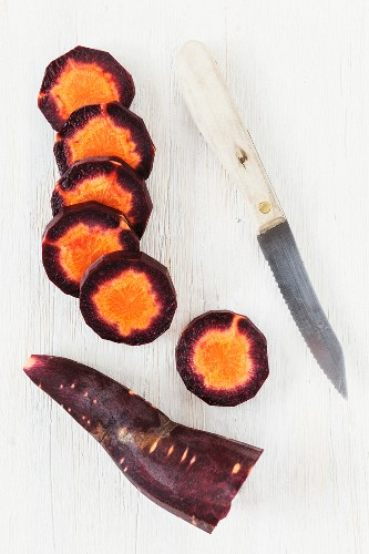 Slices of purple carrot