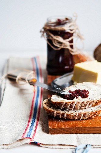 Bread, butter and jam for breakfast