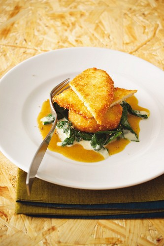 Corn-fed chicken escalope in a potato coating with spinach and apple curry sauce