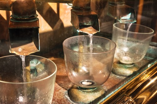 A filter device for filtering distilled whisky