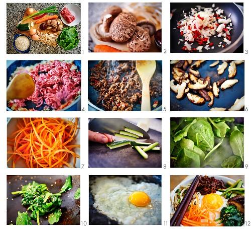Bibimbap - Korean rice dish with vegetables, beef and gochujang being made