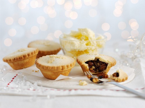 Mince pies with brandy butter for Christmas