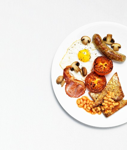 An English breakfast on a plate