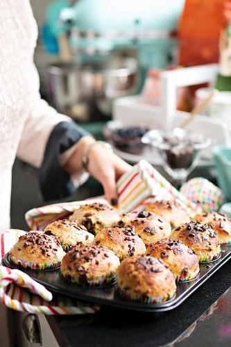 Freshly baked chocolate breakfast rolls