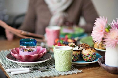 Chocolate breakfast rolls served with yoghurt muesli