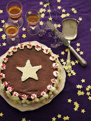 A festive Christmas cake decorated with marzipan stars