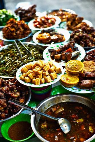 Street food at a market in Saigon (Vietnam)