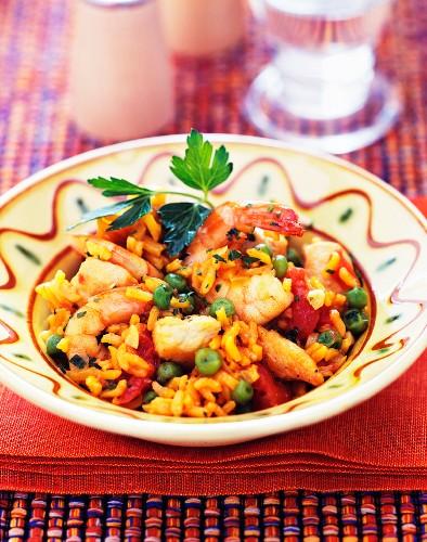 Jambalaya (rice with prawns and turkey, USA)
