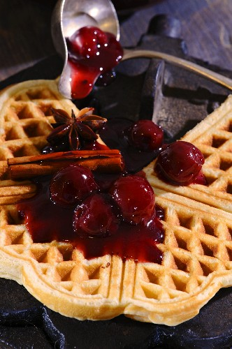 Waffles with cherry compote