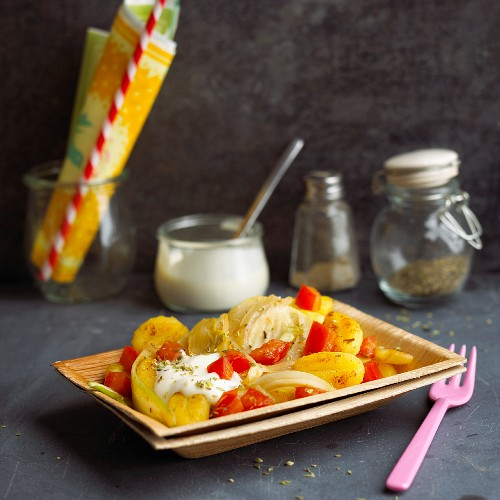 Gnocchi with fennel, tomatoes and soya yoghurt