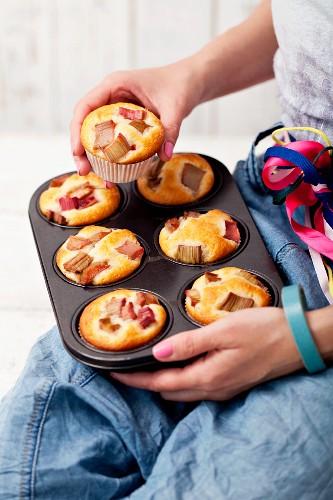 Freshly baked rhubarb and vanilla muffins