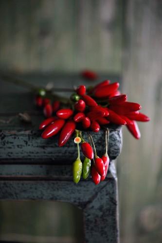 Chilischoten auf Tisch liegend