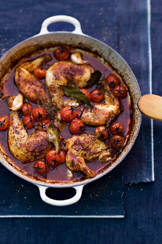 Coq au vin with cherry tomatoes