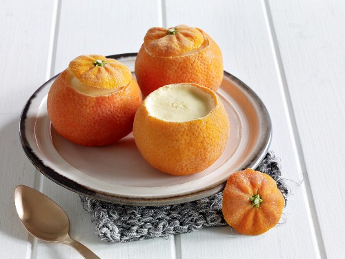 Clementine parfait served in hollowed out fruits