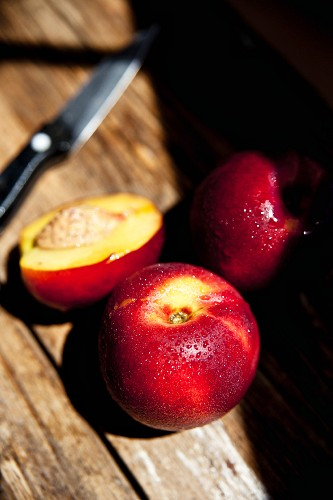 Chilled organic nectarines in the late afternoon sunshine