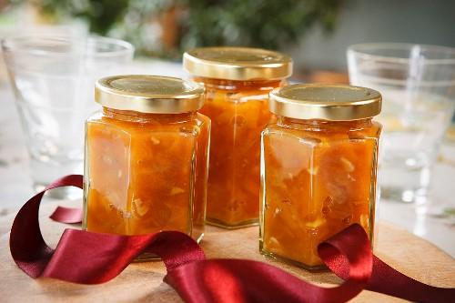 Jars of apricot chutney