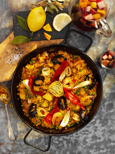 Paella with seafood and artichokes