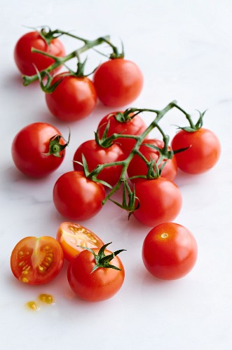 Cherry tomatoes on a marble slab