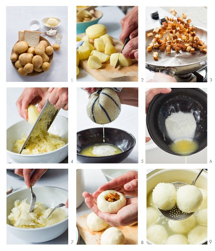 Potato dumplings being made