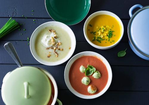 ADHD food: kohlrabi soup, tomato soup and pumpkin soup