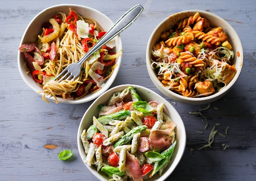 ADHD food: three different pasta dishes