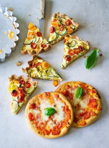 ADHD food: vegetable quiche and mini pizzas